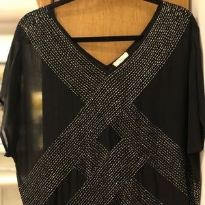 Joie silk sheer blouse with beading
